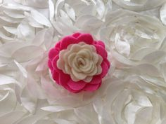 I Felt For You Ivory and Hot Pink Flower Headband or Hair Clip on Etsy, $7.50