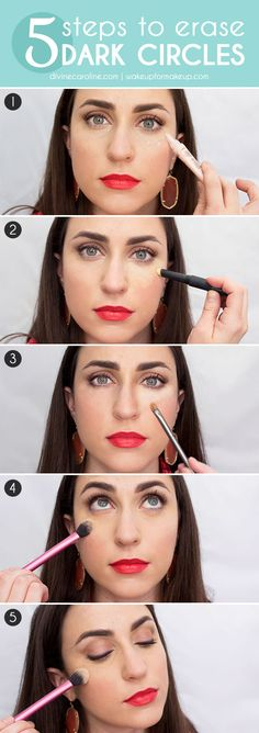 Nobody likes to hear how tired they look. Knock out those pesky purple (or red..or blue.. ugh) under-eye circles in five simple steps! #undereyecircles #makeup