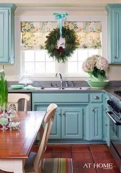 Aqua Painted Kitchen cabinets. So pretty.