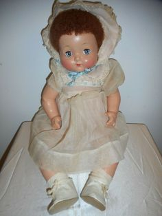 "1942 VINTAGE EFFANBEE SWEETIE PIE BRIGHT EYES 24"" COMPOSITION DOLL - GOOD COND! Effanbee Dolls, Baby Girl Dolls, Bright Eyes, Cry Baby, Look Alike, Metalhead, Harajuku, Composition, Flower Girl Dresses"