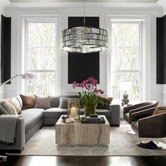 """Lamont 38"""" Round Crystal Chandelier, Polished Nickel .. #williamssonoma.. example of area defined by lighting"""