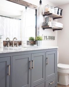 I was on Pinterest this morning brainstorming ideas for a bathroom vanity after seeing a few I liked at home improvement stores. Ironically one was gray and I wasn't to sure about it. After seeing Ashley's of  @cherishedbliss bathroom...the gray vanity is now a contender. Isn't this gorgeous 😍😍😍 and I think it's appropriate for sharing for #swoonworthysaturday