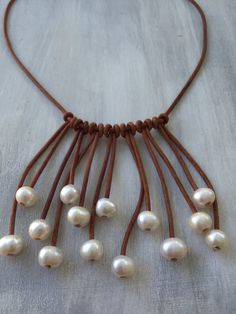 Multistrand leather freshwater pearl necklace
