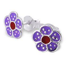 Flower Daisy Purple Studs - Silver Earrings