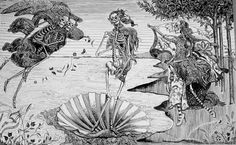 """José Guadalupe Posada: """"Birth of Venus"""" (1913) Posada's best known works are his calaveras, which often assume various costumes, such as the Calavera de la Catrina, the """"Calavera of the Female Dandy"""", which was meant to satirize the life of the upper classes during the reign of Porfirio Díaz. Most of his imagery was meant to make a religious or satirical point. Since his death, however, his images have become associated with the Mexican holiday Día de los Muertos, the """"Day of the Dead"""