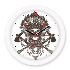 Black White Red Skull Pirate Feather Indian Culture Element Silent Non-ticking Round Wall Decorative Clock Battery-operated Clocks Gift Home Decal #Wallclock #Black #Clock #White #Wallwatch #Red #Kitchenclock #Skull #Modernwallclock #Pirate #Digitalclock #Feather #Wallstickerclock #Indian #Homedecor #Culture #DIY #Element #DIYclock #Homeclock