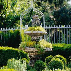 Reuse a Fountain -  Many gardeners think a fountain is a perfect garden accent -- until it cracks or leaks. Then make it a charming planter for creeping plants such as sedum or thyme to spill over the edges and create the look of water.