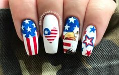80 patriotic of july nails for independence day 2018 4th Of July Nails, Fourth Of July, Eagle Nails, American Flag Nails, Patriotic Nails, 4th Of July Decorations, July Crafts, Fun Nails, Nice Nails
