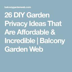 26 DIY Garden Privacy Ideas That Are Affordable & Incredible   Balcony Garden Web