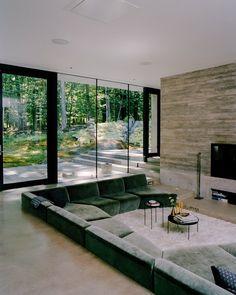 Dream Home Design, Modern House Design, Home Interior Design, Interior Architecture, Villa, Casa Hygge, Sunken Living Room, Living Room Designs, Living Spaces