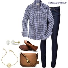 Gingham by vintagesparkles78 on Polyvore featuring J.Crew, Naked & Famous, Frye, MICHAEL Michael Kors, Sarah Chloe and Miadora