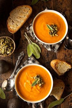 Pumpkin and Red Lentil Soup - In this ultimate fall soup recipe, red lentils give spiced pumpkin soup a velvety texture and extra protein. Lentil Soup Recipes, Red Lentil Soup, Vegetarian Recipes, Cooking Recipes, Healthy Recipes, Vegetarian Soup, Cooking Ideas, Pasta Recipes, Spiced Pumpkin Soup