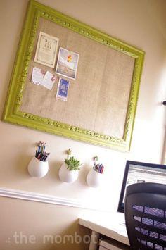 DIY Burlap-covered bulletin board...good for office...