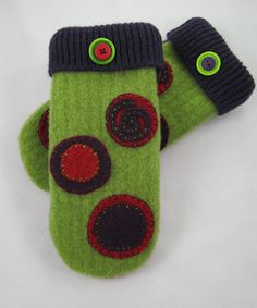 Felted Wool Sweater Mittens   Spirals and Circles by WintersWoods, $40.00