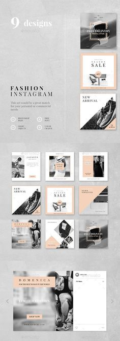 Fashion Instagram  9 Designs � Photoshop PSD #marketing #instagram � Download � https://graphicriver.net/item/fashion-instagram-9-designs/19413182?ref=pxcr