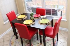 5pc Espresso Dining Room Kitchen Set Table  4 Red Parson Chairs 5 piece Dinette #5pcEspressoDining #Modern