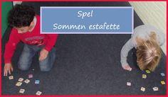 sommenestafette (kan ook buiten) Spel x Verdeel de kinderen in groepjes en laat ze in een rij staan. x Leg een aantal meter verderop voor elk groepje kaartjes met sommen neer. x Geef elk groepje een stapel met antwoordkaartjes. x Om de beurt mag de voorste een antwoordkaartje pakken en naar de sommen rennen. x De speler legt het antwoord boven op de som. x Het groepje dat als eerste alle sommen goed heeft gemaakt, heeft gewonnen.