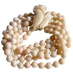 Angel Skin Coral Gold Beaded Bracelet with Brooch Clasp 1