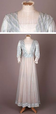 Day dress, cotton voile, about 1910. Summer day dress, pale blue, green and white striped cotton voile. High-necked insert and cuffs of spotted cotton net and machine-made lace. Sudley House, Liverpool Museums