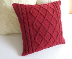 Cable knit burgundy pillow cover hand knit by Adorablewares, $35.00