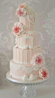 Pink vintage wedding cake.