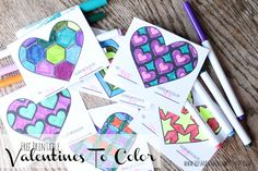 free printable valentines to color from Yang-wen Chen Things With Love Unicorn Valentine, Valentine Theme, Valentine Day Love, Valentines Diy, Valentine Hearts, Printable Valentine, Fun Crafts For Kids, Crafts To Do, Paper Crafts