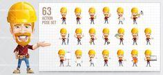 Worker Cartoon Character Set