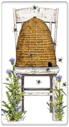 Farmer's Beehive and White Chair 100�0Cotton Flour Sack Dish Towel Tea Towel