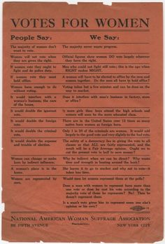 A Broadside Rejecting Anti-Suffragist Arguments $995