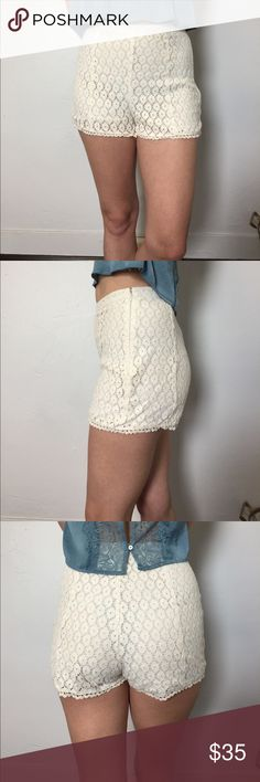 Lace shorts Adorable little lace shorts, not ref but marked based on similar style. These are marked a size 0 but I am a 2-4. I think they would look better on a more slender frame for reference I'm a size 25-26 and I don't have the skinniest of thighs 🙈.                                                        ❤️Price is my lowest, discounts for bundle only❤️                      ☁️Ask about discounted shipping☁️ Kimchi Blue Shorts