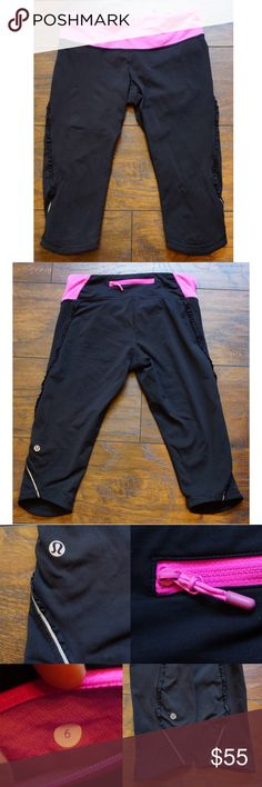 Sale! Lululemon Run Fast Free Crops Black Pow Pink Sale! Excellent condition Lulu Run Fast and Free crops in black and pow pink. Size 6. Power luxtreme II, compression tights. 4 way stretch. Ruffle detail. Reflective strip on legs near hem. Articulated knees. Logo not cracked. A tiny bit of paint chipped off zipper pull. Drawstring waist. Slight fading on inside of waistband. Cannot see when worn. Very fading, you cannot tell in the pics. Price is firm. Less on Ⓜ️ercri. lululemon athletica…