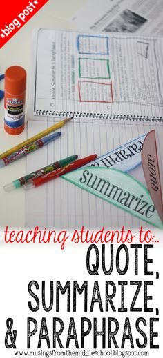 Get started with Interactive Student Notebooks today in your classroom with this FREEBIE that teaches the difference between quoting summarizing and paraphrasing! Teaching Language Arts, Teaching Writing, Teaching Strategies, Student Teaching, Teaching English, Teaching Themes, Essay Writing, Teaching Tools, Persuasive Essays