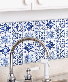 WALLIES Blue Tiles Wall Decal Set