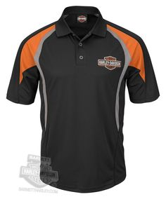 Harley-Davidson Mens Street Runner Trademark B&S Cool Base Black Polo:Amazon:Clothing
