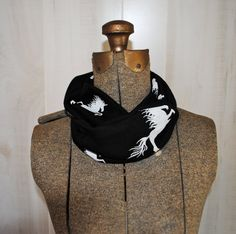 Childrens Black & White Unicorn Infinity Scarf/ Looped Scarf - Complete Finished Tube Loop - No Raw Edges. $12.75, via Etsy.