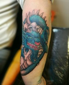 Keiren's new dragon tattoo by Samuel. #tattoo #forever13tattoo #tattooedmen #dragon tattoo #inkjecta #bishoprotary #eternalinks #lacenano