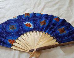 purple etnic hand held fan folding fan by mariamercedesbrazil