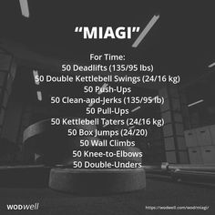For Time: 50 Deadlifts lbs); 50 Double Kettlebell Swings kg); 50 Push-Ups; 50 Clean-and-Jerks lb); 50 Pull-Ups; 50 Kettlebell Taters kg); 50 Knee-to-Elbows; Crossfit Workouts At Home, One Song Workouts, Mini Workouts, Wod Workout, Workout Days, Cheer Workouts, Morning Workouts, Workout Songs, Boxing Workout