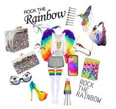 """""""Rock the Rainbow"""" by ac-awesome ❤ liked on Polyvore featuring Ashlyn'd, Cara, Leg Avenue, CellPowerCases, TaylorSays, Hannah Makes Things, Gasoline Glamour, Universal Lighting and Decor, Fendi and T By Alexander Wang"""