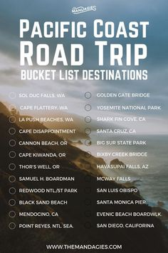 25 Amazing Stops On A Pacific Coast Highway Road Trip Itinerary - The Mandagies - - We have a surprise we've been keeping from you: We're taking a Pacific Coast Road Trip is less than a week! Read more for all the epic stops along the way. Travel List, Travel Goals, Travel Guides, Travel Europe, Time Travel, Travel Hacks, Travel Backpack, Travel Bucket Lists, Work Travel