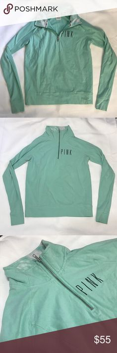 VS PINK light teal sea foam green quarter zip VS PINK light teal sea foam green quarter zip. Tie dye collar. Logo on front. Great condition and very pretty color! PINK Victoria's Secret Tops