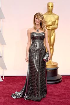 Laura Dern @ 2015 Oscars in Alberta Ferretti.  The necklace and clutch are both an integral part of the outfit.  I would love to feel the material!