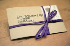 Handmade 'tying the knot' save the dates made from brown card and twine   The Natural Wedding Company