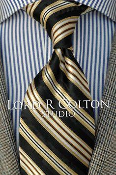 Lord R Colton Studio Tie - Black & Gold Stripe Woven Necktie - $95 Retail #LordRColton #NeckTie