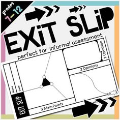 A stunning, quarter page, generic exit slip/exit ticket/out-the-door pass that you can use in any class for any subject to informally assess student leaning/understanding. The unique and visually appealing design will get students wanting to fill these exit slips out!