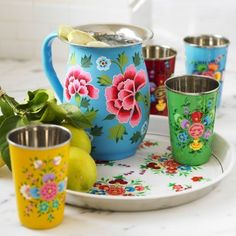 Pretty, Hand-painted Kashmiri Tin Ptcher, Cups, Serving Tray   purchase at Not on the High Street
