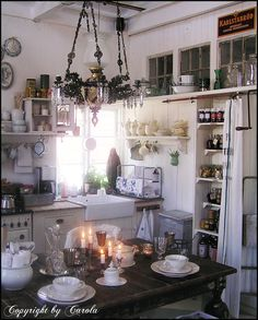 Boxwood Cottage: My visit at Mor Agusta's garage in Sweden ~ Gúa's wonderful sanctuary (a beautiful post on a beautiful blog - how I love this kitchen!)