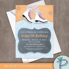 Ice Skating Invitation Ice Skating Invite Ice Skating Party