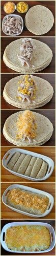 Quick easy meal- but I'd use a lot less cheese. And add greek yogurt of course ;) how to make white chicken enchiladas