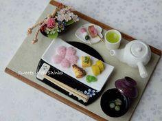 桜の和食セット 1/12サイズ #ミニチュア#ミニチュアフード#miniature